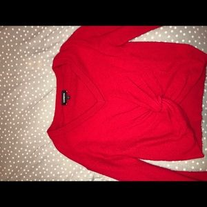 Red Express Front-Tie Sweater